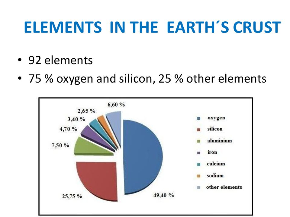 ELEMENTS IN THE EARTH´S CRUST 92 elements 75 % oxygen and silicon, 25 % other elements