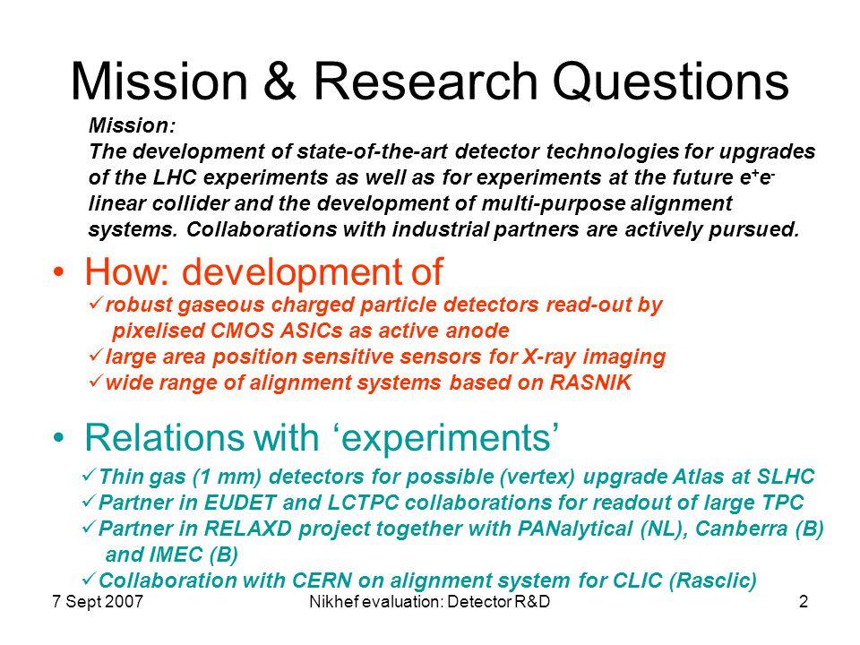 7 Sept 2007Nikhef evaluation: Detector R&D13 Outlook Detector R&D Upgrade Atlas: LOI's ILC: Detector EDR's ILC: Construction ILC(?): RELAXD: EUDET: LCTPC: CERN RD51(?): 2007 – 2008 – 2009 – 2010 – 2011 – 2012 – 2013 – 2014 - .