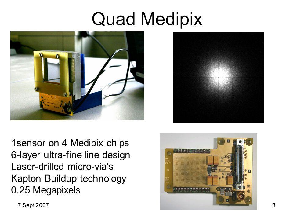 7 Sept 20078 Quad Medipix 1sensor on 4 Medipix chips 6-layer ultra-fine line design Laser-drilled micro-via's Kapton Buildup technology 0.25 Megapixel