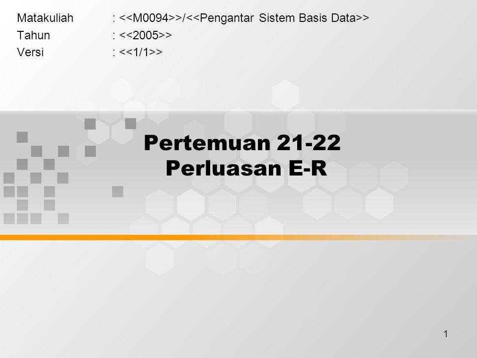 1 Pertemuan 21-22 Perluasan E-R Matakuliah: >/ > Tahun: > Versi: >