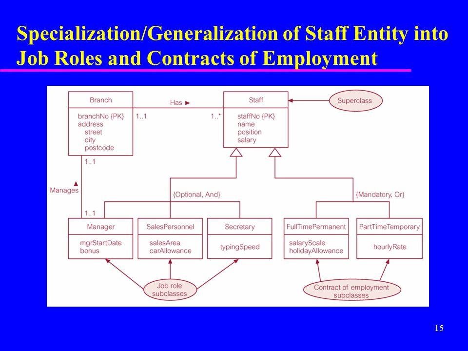 15 Specialization/Generalization of Staff Entity into Job Roles and Contracts of Employment