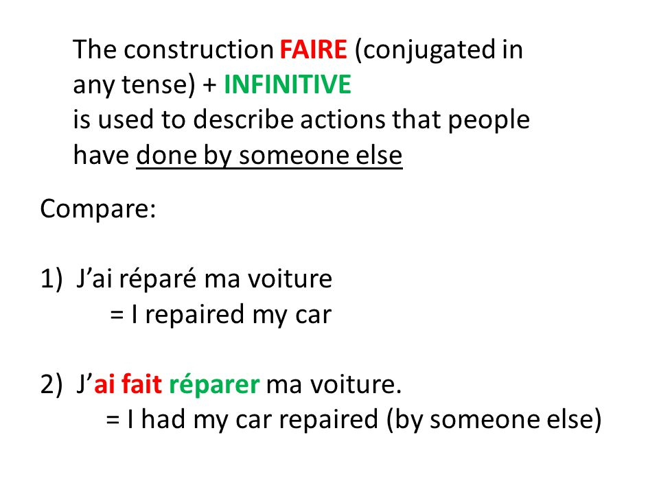 The reflexive construction SE FAIRE (conjugated in any tense) + INFINITIVE means that you are having something done for (or to) yourself Compare: 1)Il s'est coupé les cheveux = He cut his own hair 2)Il s'est fait couper les cheveux = He had his hair cut (by someone else)