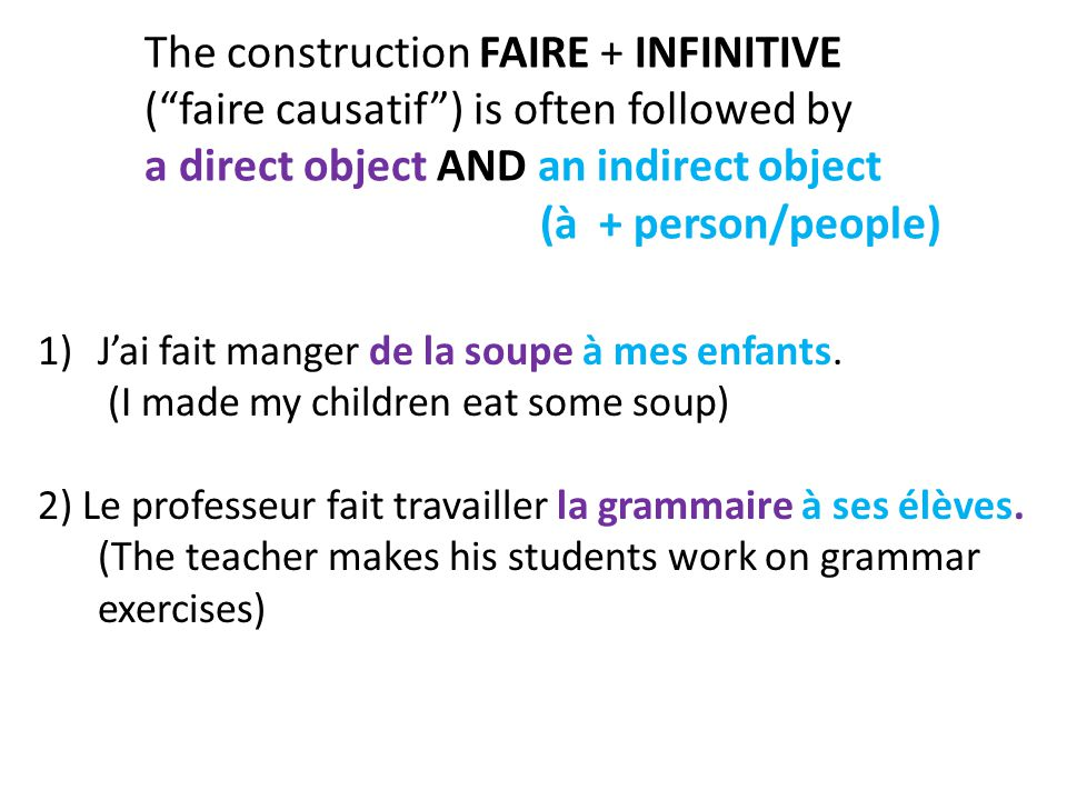 """The construction FAIRE + INFINITIVE (""""faire causatif"""") is often followed by a direct object AND an indirect object (à + person/people) 1)J'ai fait man"""