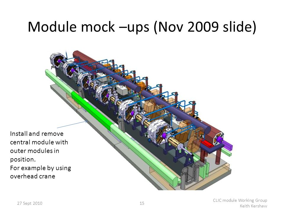 Module mock –ups (Nov 2009 slide) 15 CLIC module Working Group Keith Kershaw Install and remove central module with outer modules in position. For exa
