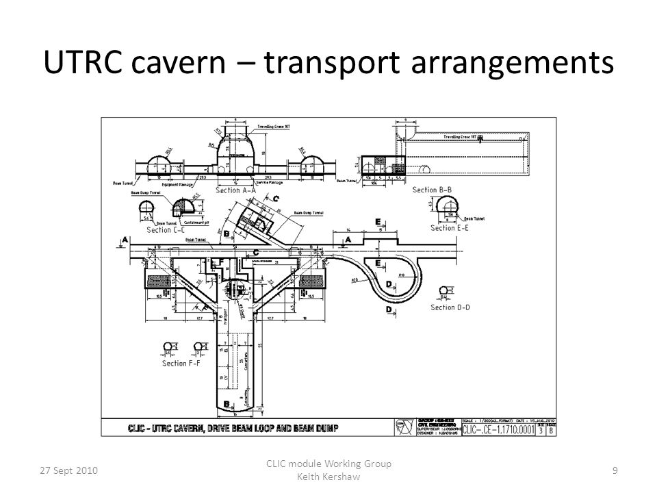 UTRC cavern – transport arrangements 9 CLIC module Working Group Keith Kershaw 27 Sept 2010