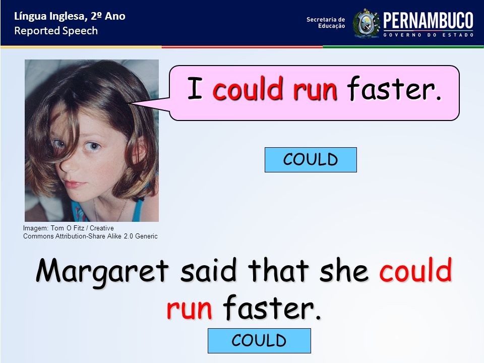 Margaret said that she could run faster. COULD Língua Inglesa, 2º Ano Reported Speech Imagem: Tom O Fitz / Creative Commons Attribution-Share Alike 2.