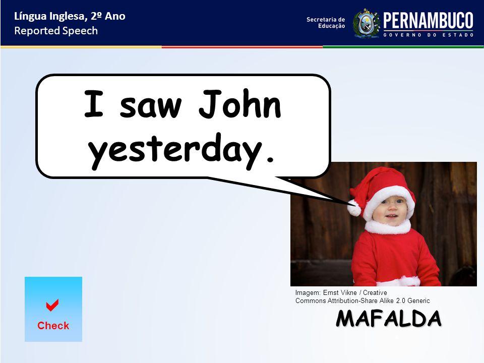Língua Inglesa, 2º Ano Reported Speech MAFALDA  Check I saw John yesterday.
