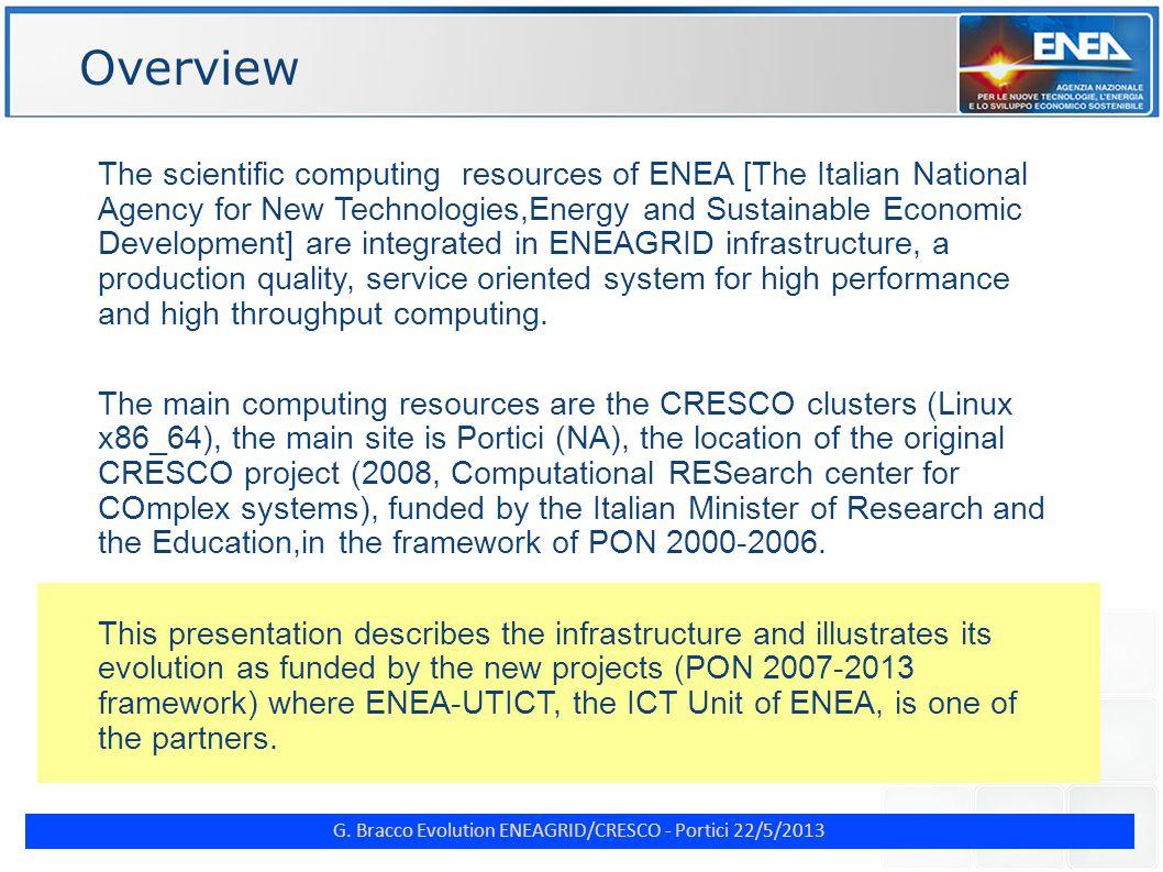 G. Bracco Evolution ENEAGRID/CRESCO - Portici 22/5/2013 Virtual Labs (2)