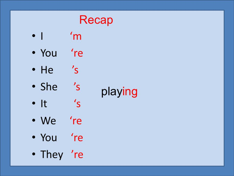 I 'm You 're He 's She 's It 's We 're You 're They 're Recap playing