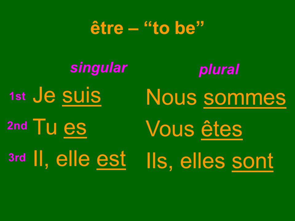 être – to be singular Je suis Tu es Il, elle est plural Nous sommes Vous êtes Ils, elles sont 1st 2nd 3rd