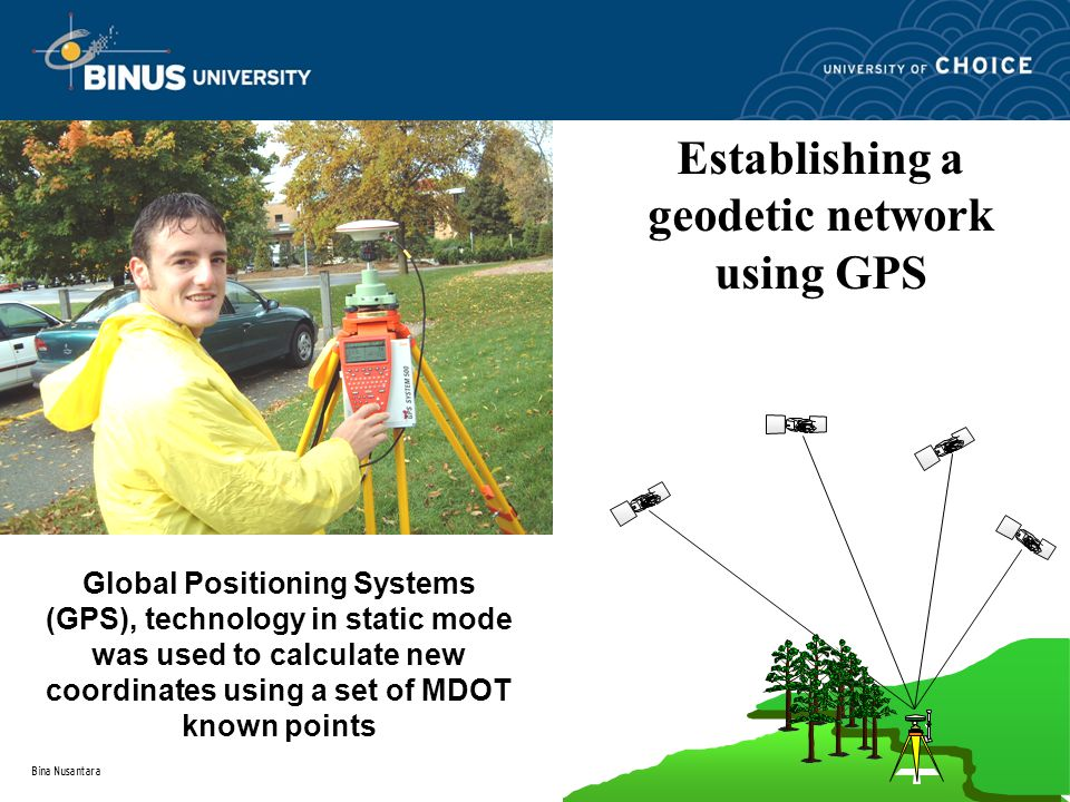 Global Positioning Systems (GPS), technology in static mode was used to calculate new coordinates using a set of MDOT known points Establishing a geodetic network using GPS techniques