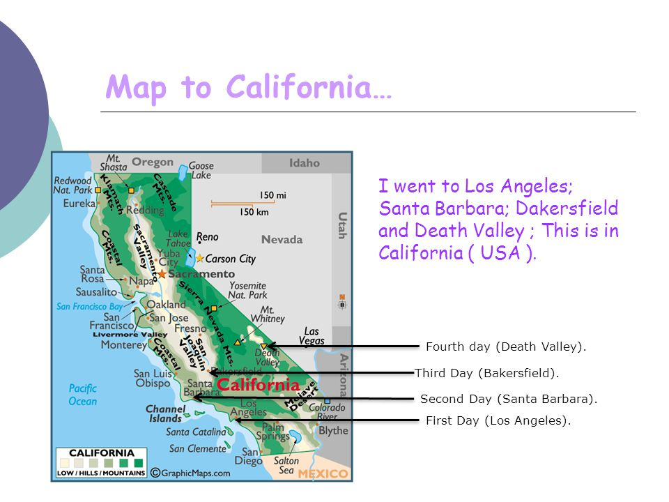 Map to California… First Day (Los Angeles).Second Day (Santa Barbara).