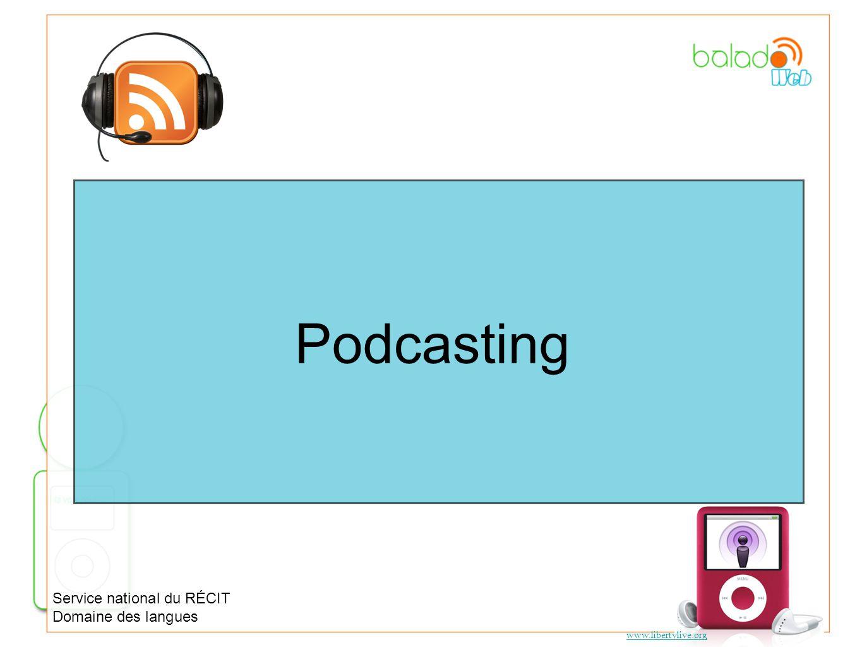Podcasting Service national du RÉCIT Domaine des langues www.libertylive.org