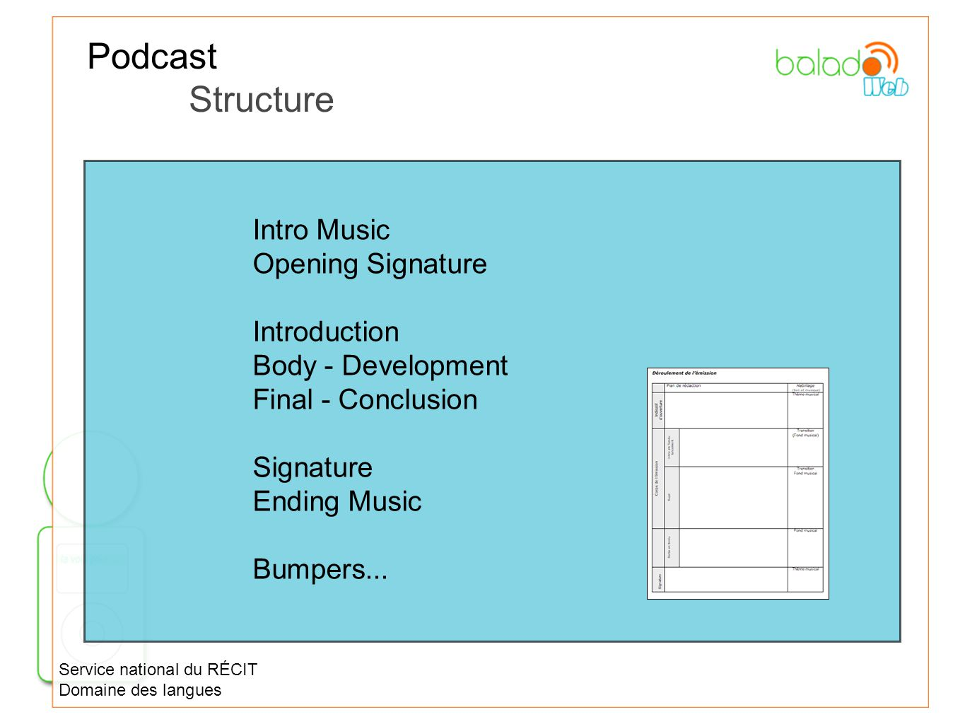 Podcast Structure Intro Music Opening Signature Introduction Body - Development Final - Conclusion Signature Ending Music Bumpers... Service national
