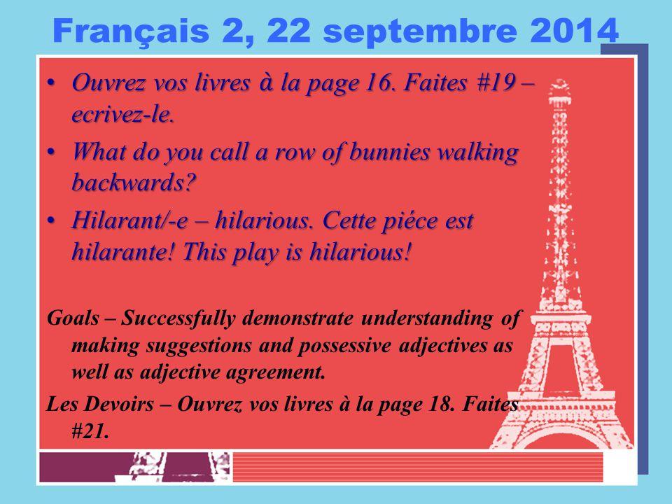 Français 2, 23 septembre 2014 Cinq minutes preparer à l'orale 1-2.Cinq minutes preparer à l'orale 1-2.