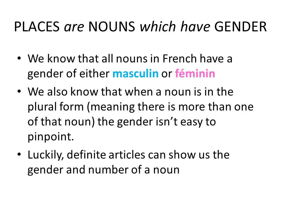 Definite articles can show us the gender and number of a noun Masculin (Singulière) Féminin (Singulière) Pluriel Le (l')La (l')Les