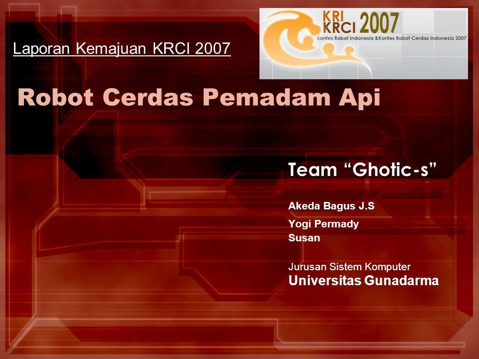 Ghotic-s Laporan Kemajuan Ghotic-s – Seleksi Tahap II KRCI 2007 Metode Kerja Robot (1/2) Blok Diagram Sistem Kontrol