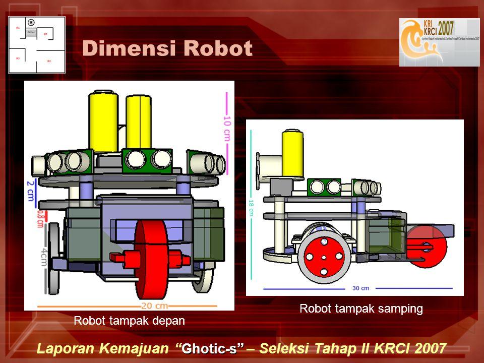 Ghotic-s Laporan Kemajuan Ghotic-s – Seleksi Tahap II KRCI 2007 Dimensi Robot Robot tampak depan Robot tampak samping