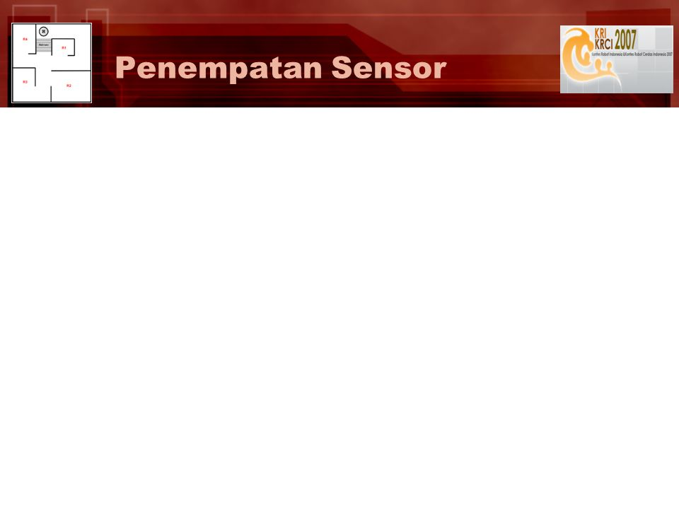 Ghotic-s Laporan Kemajuan Ghotic-s – Seleksi Tahap II KRCI 2007 Fungsi Sensor (1/2) Electronic compass is very sensitive to magnetic deviations Ultrasonic range finder has wide signal propagation (~50°) Electronic compass (Devantech CMPS03) Ultrasonic range finder (Parallax PING)