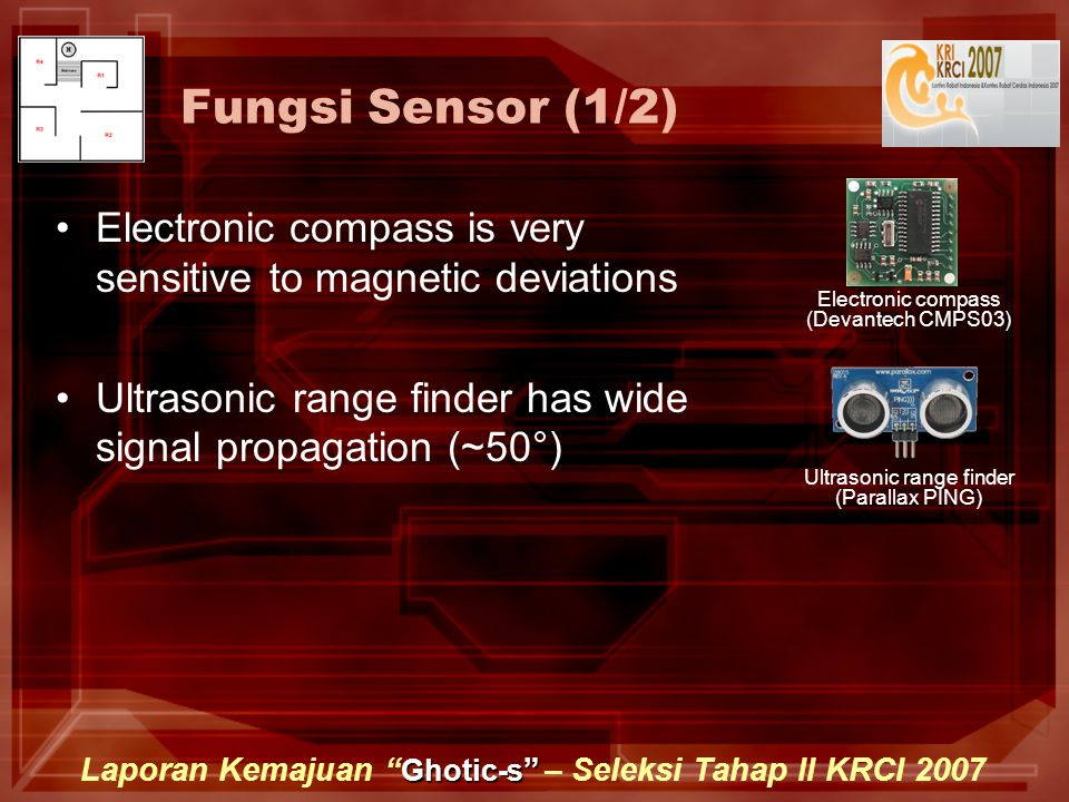 Ghotic-s Laporan Kemajuan Ghotic-s – Seleksi Tahap II KRCI 2007 Fungsi Sensor (1/2) Electronic compass is very sensitive to magnetic deviations Ultrasonic range finder has wide signal propagation (~50°) Electronic compass (Devantech CMPS03) Ultrasonic range finder (Parallax PING)