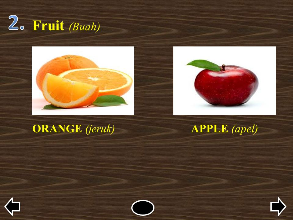 Fruit (Buah) ORANGE (jeruk)APPLE (apel)