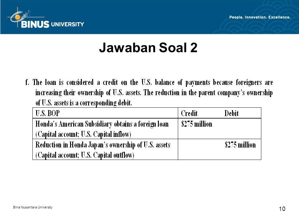 Bina Nusantara University 10 Jawaban Soal 2