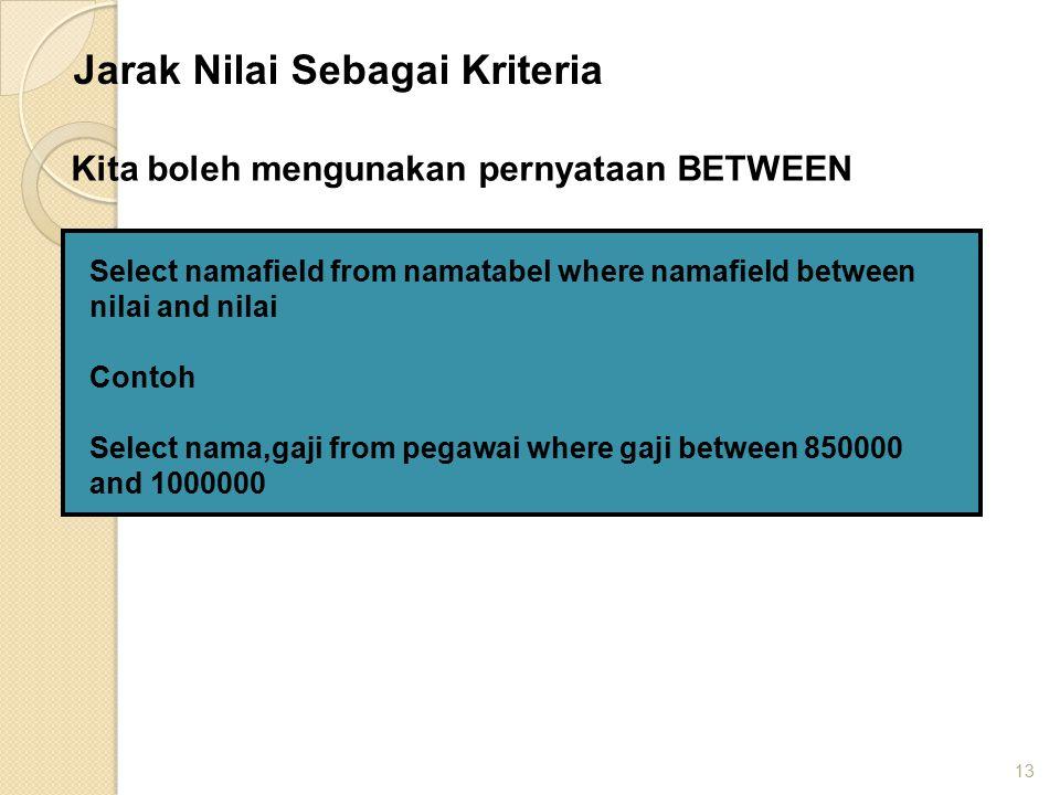 13 Select namafield from namatabel where namafield between nilai and nilai Contoh Select nama,gaji from pegawai where gaji between 850000 and 1000000