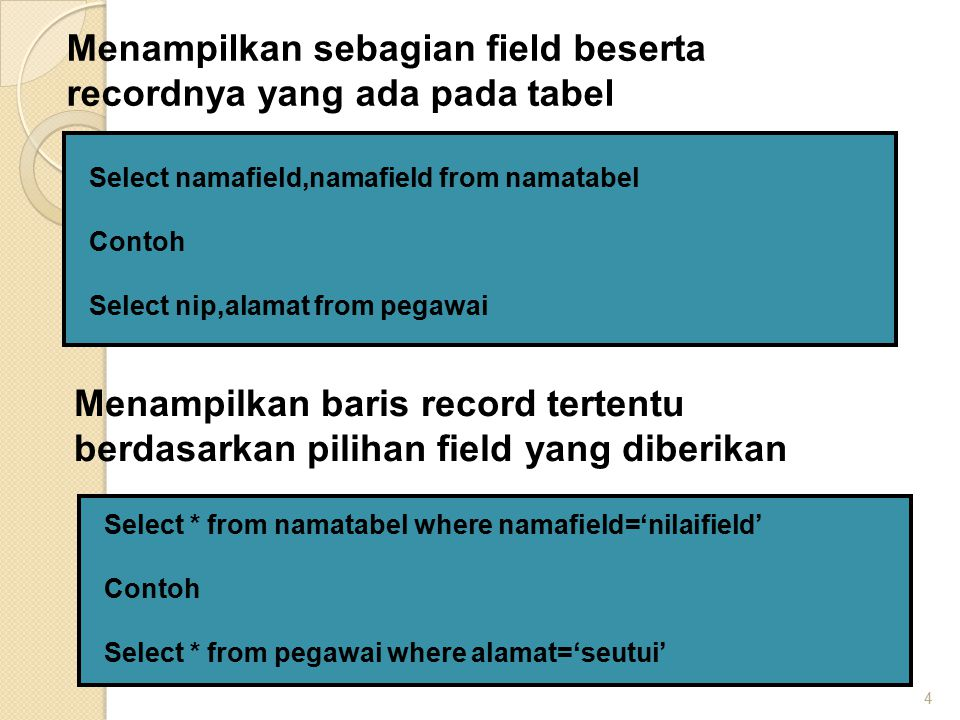 4 Select namafield,namafield from namatabel Contoh Select nip,alamat from pegawai Menampilkan sebagian field beserta recordnya yang ada pada tabel Sel