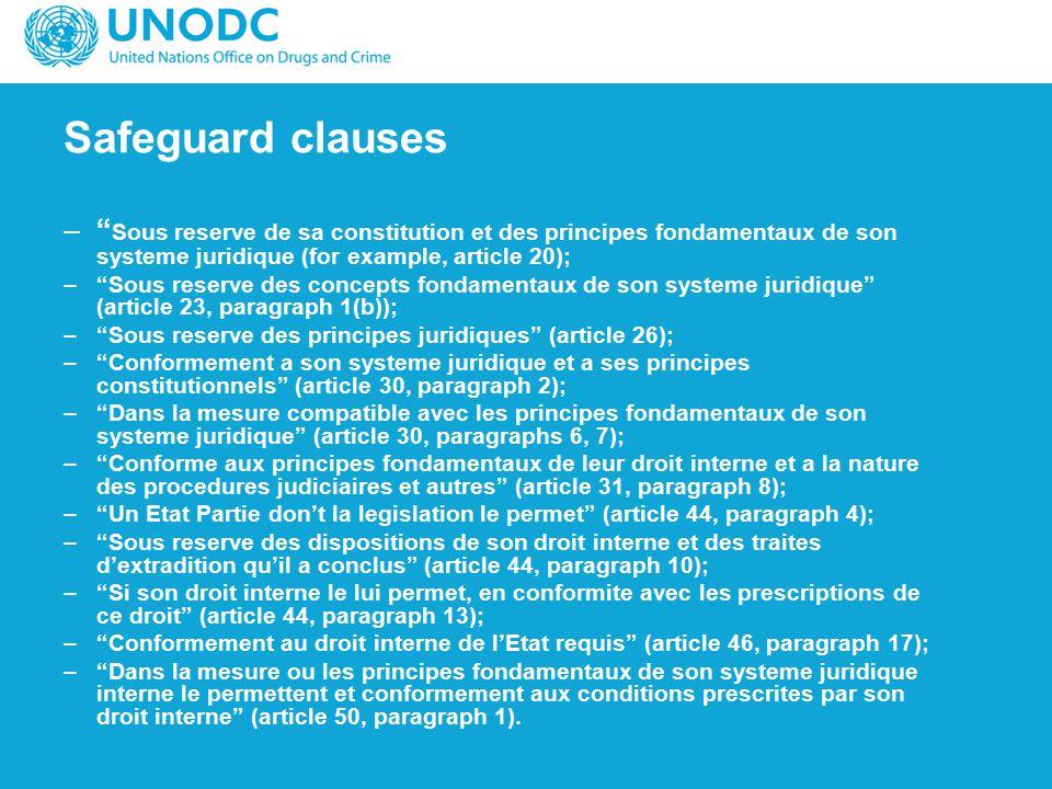 """Safeguard clauses –"""" Sous reserve de sa constitution et des principes fondamentaux de son systeme juridique (for example, article 20); –""""Sous reserve"""