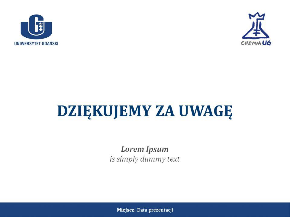 Miejsce, Data prezentacji DZIĘKUJEMY ZA UWAGĘ Lorem Ipsum is simply dummy text