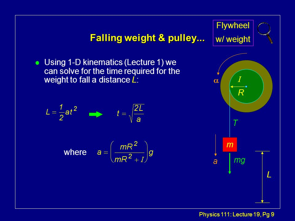 Physics 111: Lecture 19, Pg 9 Falling weight & pulley...