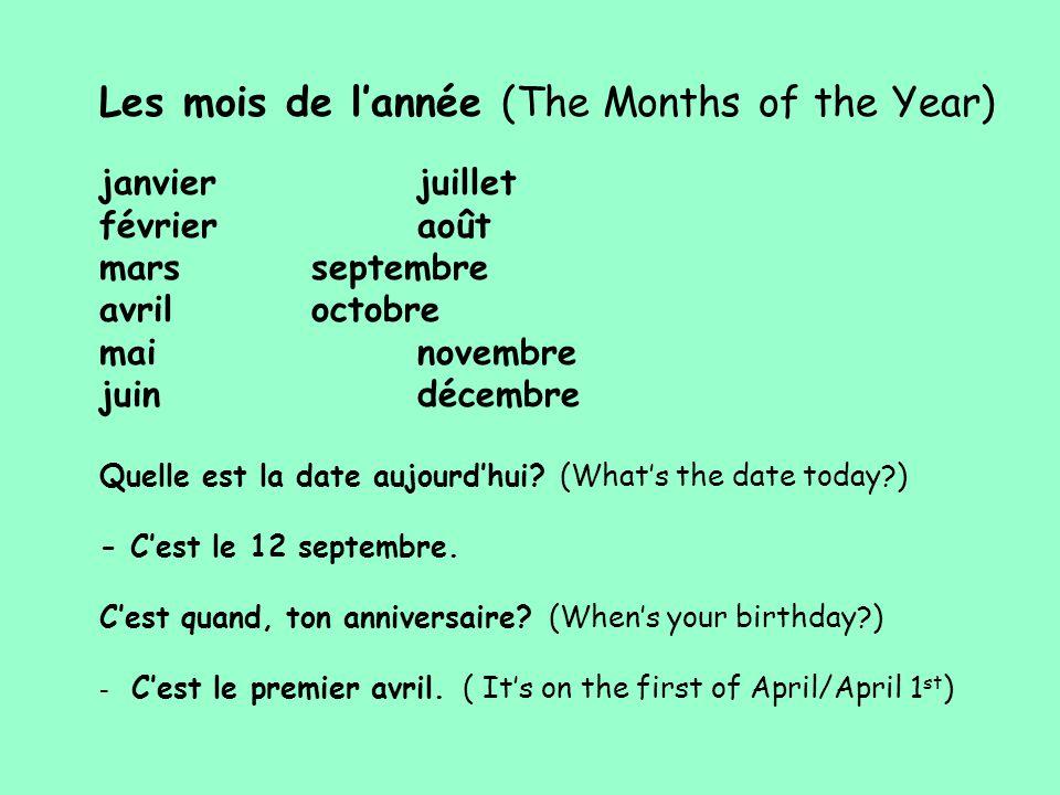 Les mois de l'année (The Months of the Year) janvierjuillet févrieraoût marsseptembre avriloctobre mainovembre juindécembre Quelle est la date aujourd'hui.