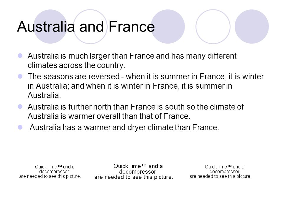 Australia and France Australia is much larger than France and has many different climates across the country. The seasons are reversed - when it is su