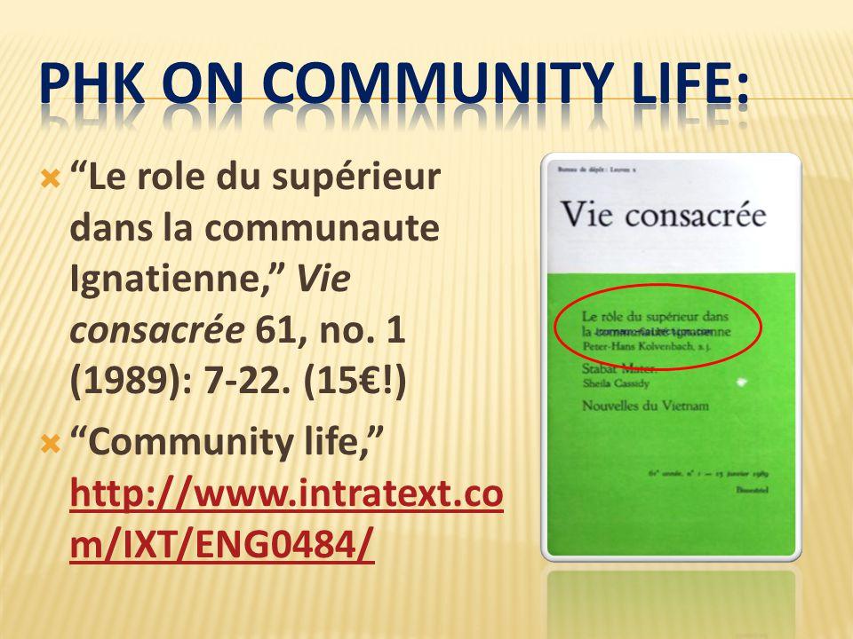  Le role du supérieur dans la communaute Ignatienne, Vie consacrée 61, no.