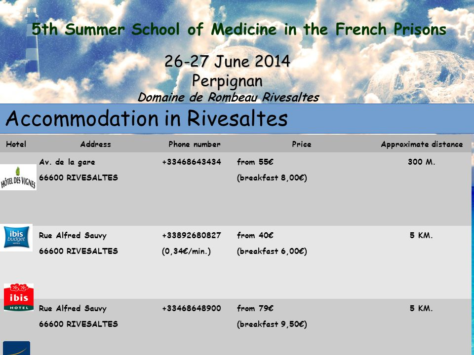5th Summer School of Medicine in the French Prisons 26-27 June 2014 Perpignan Domaine de Rombeau Rivesaltes Accommodation in Rivesaltes HotelAddressPhone numberPriceApproximate distance Av.