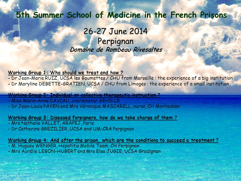 5th Summer School of Medicine in the French Prisons 26-27 June 2014 Perpignan Domaine de Rombeau Rivesaltes Working Group 1: Who should we treat and how .