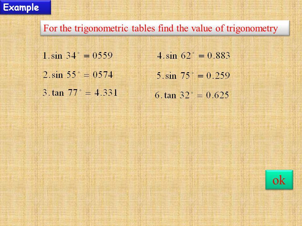 Example For the trigonometric tables find the value of trigonometry ok