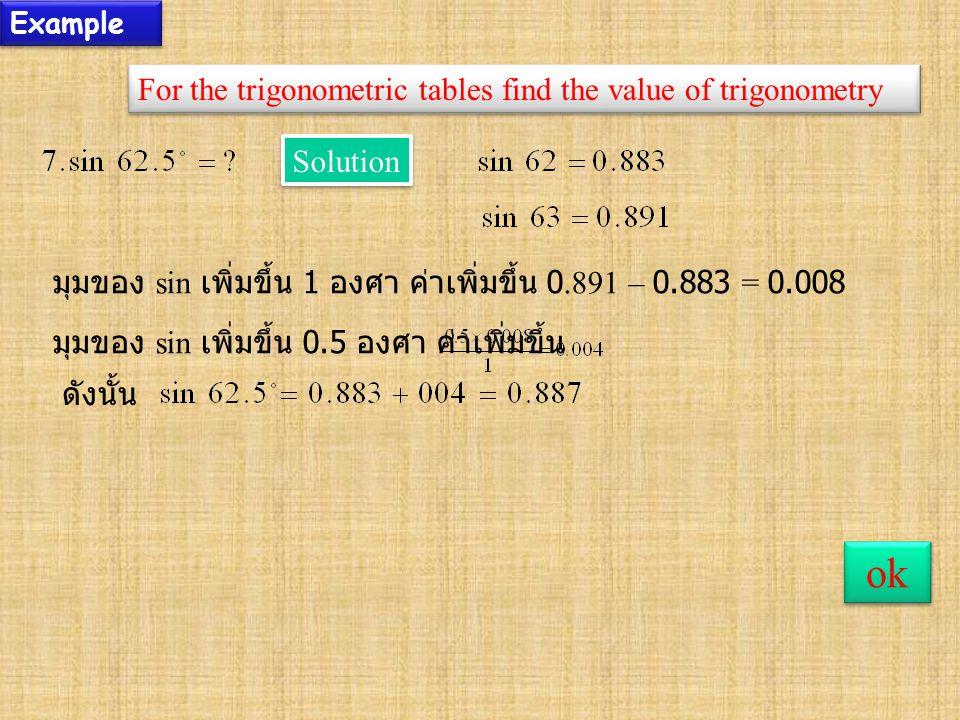 Example For the trigonometric tables find the value of trigonometry ok Solution มุมของ sin เพิ่มขึ้น 1 องศา ค่าเพิ่มขึ้น 0.891 – 0.883 = 0.008 มุมของ sin เพิ่มขึ้น 0.5 องศา ค่าเพิ่มขึ้น ดังนั้น