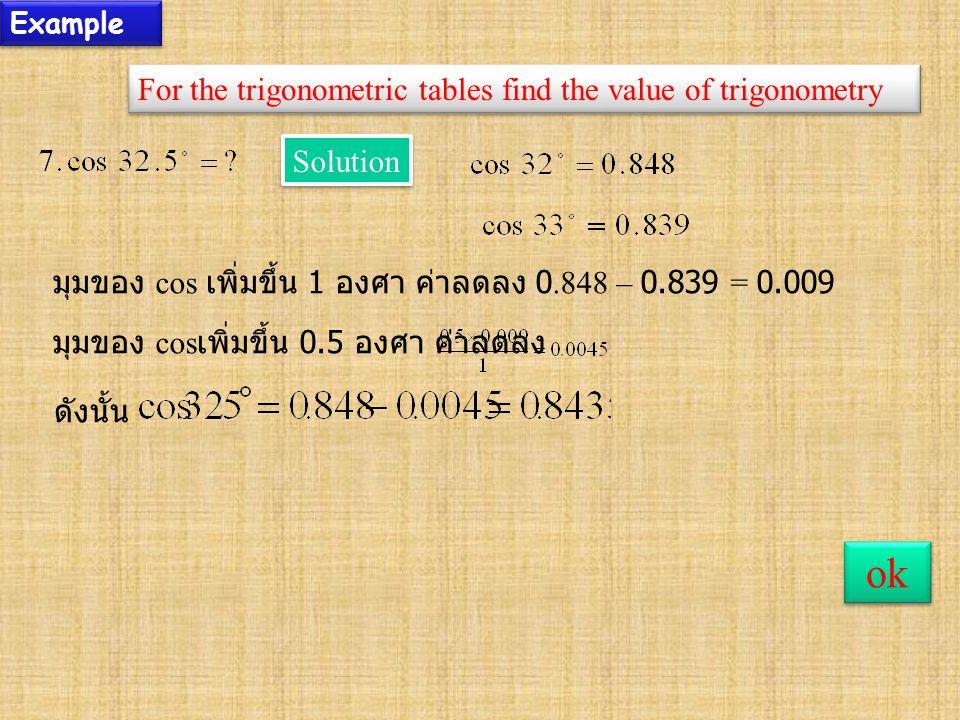 Example For the trigonometric tables find the value of trigonometry ok Solution มุมของ cos เพิ่มขึ้น 1 องศา ค่าลดลง 0.848 – 0.839 = 0.009 มุมของ cos เพิ่มขึ้น 0.5 องศา ค่าลดลง ดังนั้น