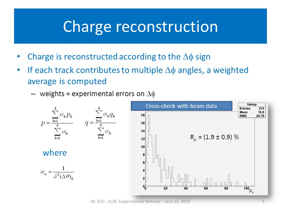 Charge reconstruction Charge is reconstructed according to the  sign If each track contributes to multiple  angles, a weighted average is computed – weights = experimental errors on  M.