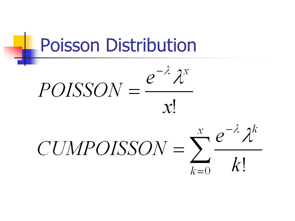 POISSON(x,mean,cumulative) X is the number of events.