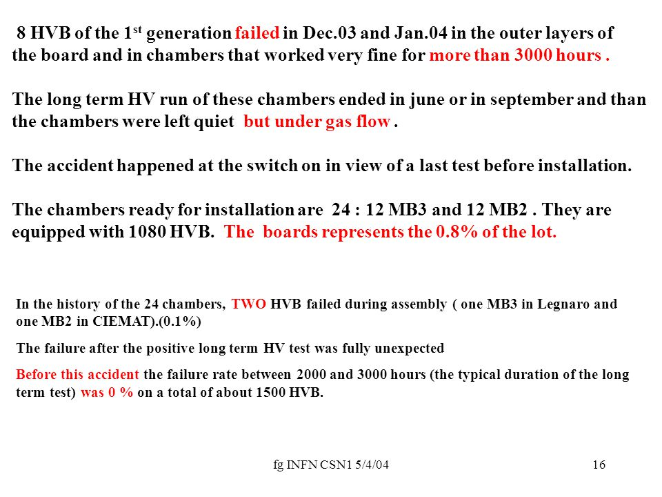 fg INFN CSN1 5/4/0416 8 HVB of the 1 st generation failed in Dec.03 and Jan.04 in the outer layers of the board and in chambers that worked very fine