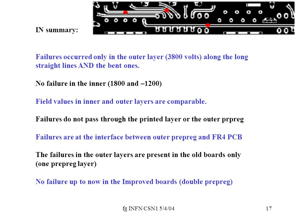 fg INFN CSN1 5/4/0417 IN summary: Failures occurred only in the outer layer (3800 volts) along the long straight lines AND the bent ones.