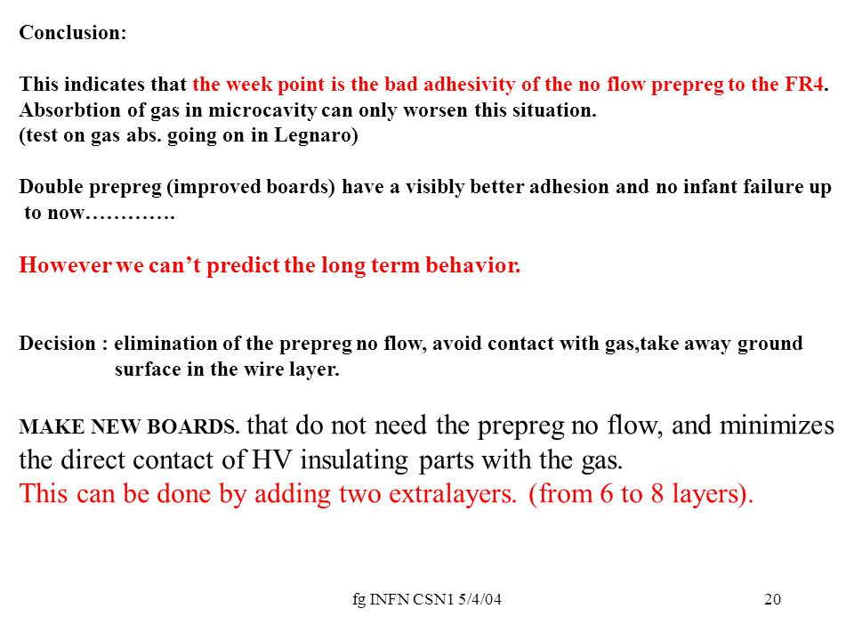 fg INFN CSN1 5/4/0420 Conclusion: This indicates that the week point is the bad adhesivity of the no flow prepreg to the FR4. Absorbtion of gas in mic