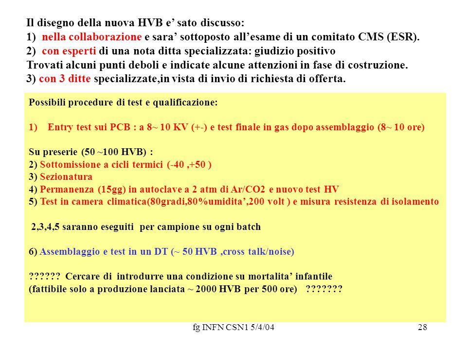 fg INFN CSN1 5/4/0428 Il disegno della nuova HVB e' sato discusso: 1) nella collaborazione e sara' sottoposto all'esame di un comitato CMS (ESR). 2) c