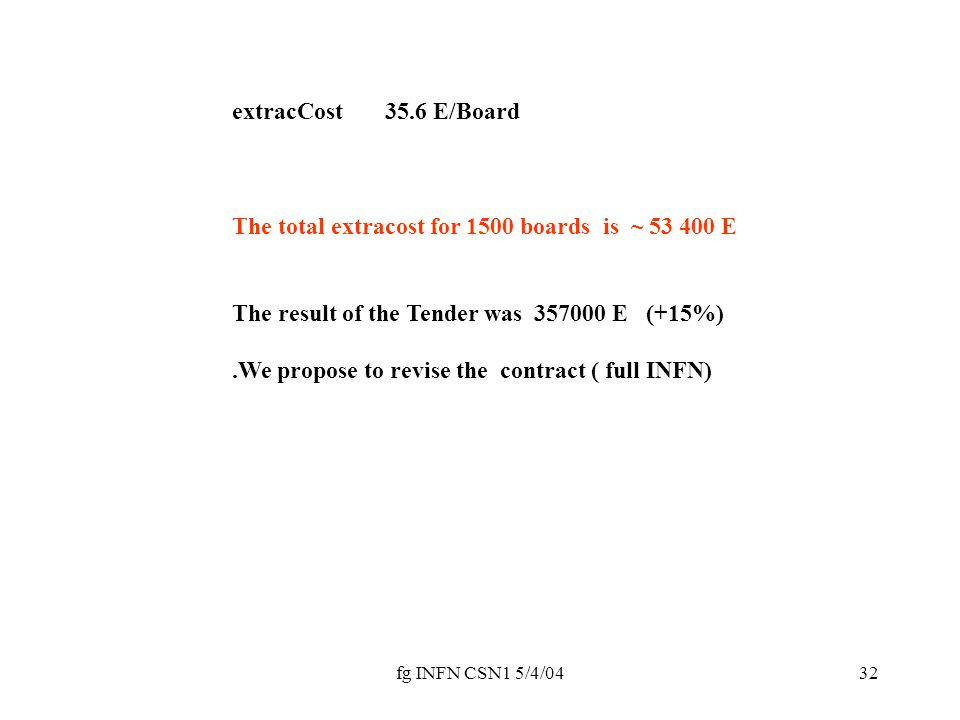 fg INFN CSN1 5/4/0432 extracCost 35.6 E/Board The total extracost for 1500 boards is ~ 53 400 E The result of the Tender was 357000 E (+15%).We propose to revise the contract ( full INFN)