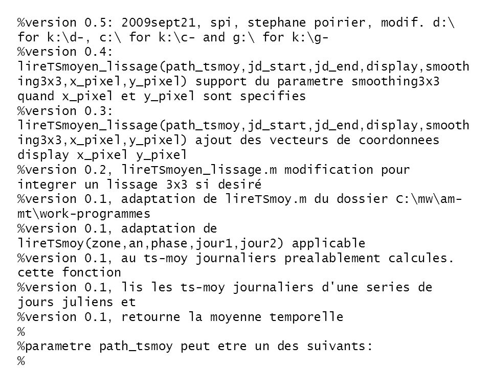 %version 0.5: 2009sept21, spi, stephane poirier, modif.