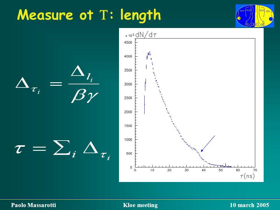 Measure ot  : length Paolo Massarotti Kloe meeting 10 march 2005