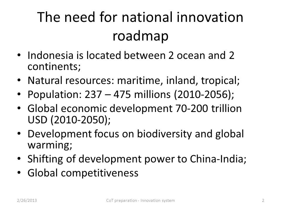 National innovation .Innovation: new and original, change, mutation .