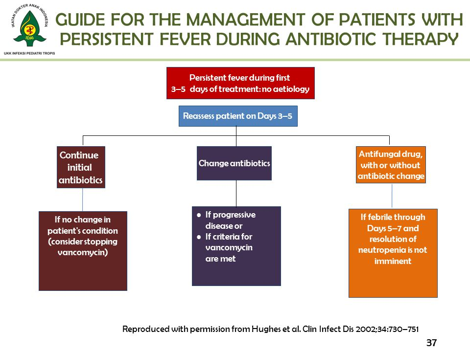 GUIDE FOR THE MANAGEMENT OF PATIENTS WITH PERSISTENT FEVER DURING ANTIBIOTIC THERAPY 37 Reproduced with permission from Hughes et al. Clin Infect Dis
